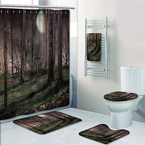 Bathroom 5 Piece Set shower curtain 3d print Multi Style,Gothic,Dark Night in the Forest with Full Moon Horror Theme Grunge Style Halloween,Brown Green Yellow,Bath Mat,Bathroom Carpet -