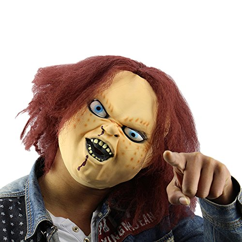 Amazon.com: Horror Latex Mask for Child Play Chucky Action Figures Masquerade Halloween Party Bar Supply: Clothing