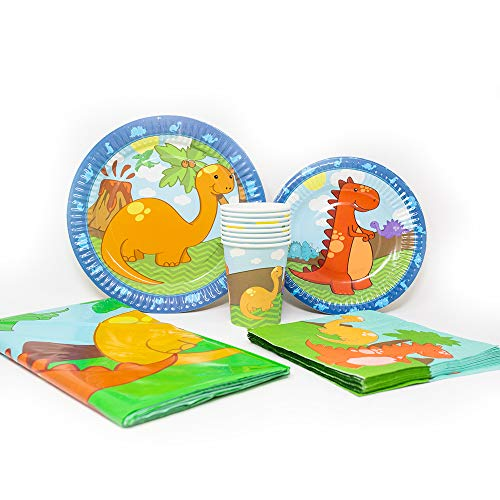 Blue Orchards Little Dinosaur Deluxe Party Packs (70+ Pieces for 16 Guests!), Dinosaur Party Packs, 1st Birthday Tableware, Dinosaur Baby Shower