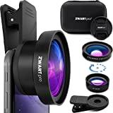 Cell Phone Lens Attachment   ZWARTpro 2 in 1 Wide Angle & Macro Camera Lens Kit for iPhone, iPad and most Android Mobiles Phones & Tablets + Protective Case (BigEye 53mm)