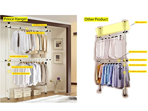 One Touch Double Adjustable Hanger | Prince Hanger | Holding 80kg(176LB) per horizontal bar | Heavy Duty | 38mm Vertical pole | Clothing Rack | Clothes Organizer | Garment Rack | PHUS-0023