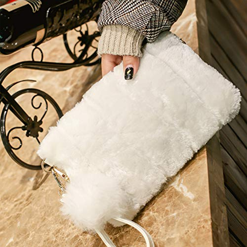 Clutch Clutch Li Yu Bag Elegant Women White Wallet Faux Candy Fur Color Handbag PTPnOZx