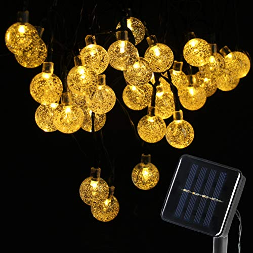 Loyps Solar Globe String Lights 30 LED 21ft 8 Mode Outdoor Bubble Crystal Ball Christmas Decoration Waterproof Solar Powered Fairy Lights for Xmas Garden Patio Home Holiday Party Wedding (Warm White) by Loyps (Image #7)