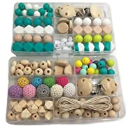Amyster DIY Baby Toys Mixed Color Geometry Hexagonal Round Silicone Beads Wooden Beads Pacifier Clips Wooden Peach Heart Breakaway Safety Clasp For Baby Tooth Nursing Set Necklace/Bracelet (A162+A120)