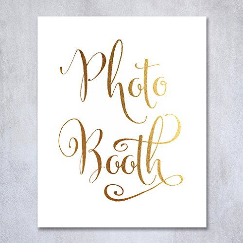 Photo Booth Gold Foil Sign Print Wedding Reception Signage Photo Guest Book Photobooth Poster Decor Calligraphy