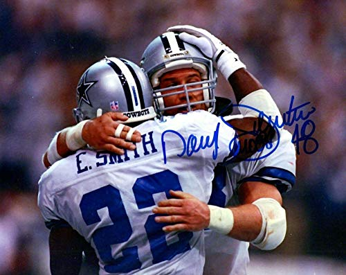 Emmitt Smith Hand Signed - DARYL JOHNSTON HAND SIGNED 8x10 PHOTO+COA COWBOYS MOOSE WITH EMMITT SMITH - Autographed NFL Photos