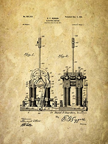 Framable Patent Art PAPXSSP228PR the Original Ready to Frame Décor Tesla Electric Motor Car Engine 8in by 10in Patent Art Poster Print, Parchment from Framable Patent Art
