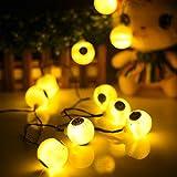 Promisen 1.2M 10LED Ghost Eyes String Lights For Halloween Party Decor Halloween String Lights (yellow)