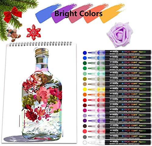 Stylos à peinture acrylique 18 couleurs Marqueurs à base d\'eau pour la pierre, la céramique, le verre, le bois, la toile, 0.7mm Pointe fine pour la peinture rupestre ou les projets de bricolage