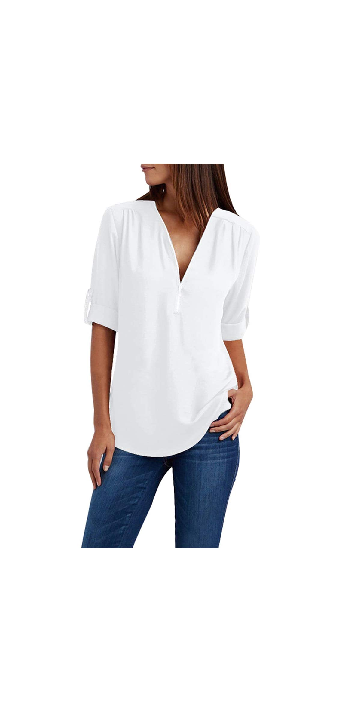 Women's Chiffon Blouse Roll-up Sleeve V Neck Zipper Casual