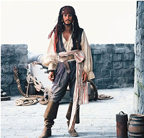 Pirates of the Caribbean Johnny Depp as Captain Jack Sparrow Standing by Cannon 8 x 10 Inch (Pirates Of The Caribbean Captain Davy Jones)