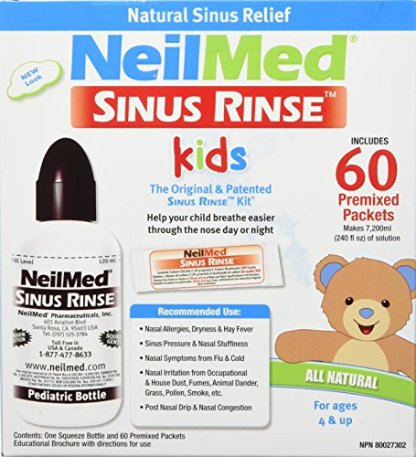(Neilmed's Sinus Rinse, Pediatric, Complete Saline Nasal Rinse Kit 60 Premixed Packets)