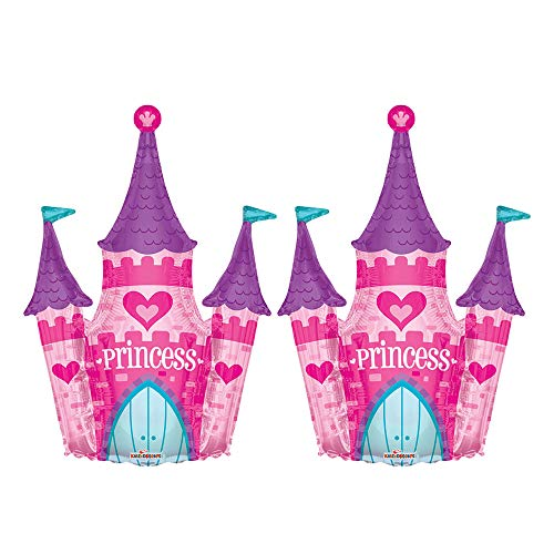(Set of 2 Pink Princess Castle Jumbo 36
