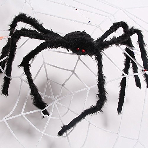 Kyson 2.5m White Super Large Spider Web Rope with 1.5m Black Giant Spider for Pranks Halloween Decoration Indoor Outdoor (White Spider Web Halloween Decoration)