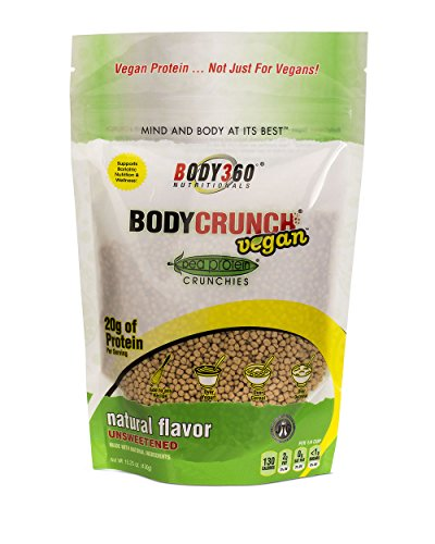 BodyCrunch Vegan Best Tasting Pea Protein Crunchies Cereal Supplement, Natural Unsweetened Flavor, Ultra Premium Quality Pea Protein Isolate, 20G Of Protein & 8G Of Carbs, Made In THE USA,  15.25 (Biggest Loser Protein Powder)