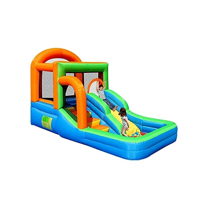 51dnwYizU8L El castillo es perfecto para la imaginación y el juego de los niños. Si no se utiliza durante mucho tiempo, por favor embalado y, al mismo tiempo, prestar atención a los insectos de control de roedores, el tamaño es muy mecedora proporciona suficiente espacio interior libre de rebote, y con unos parámetros de seguridad al aire libre rápido y cómodo de tocones suelo. La parte inferior castillo hinchable tiene un diseño antideslizante de espesor, una mayor capacidad de salto, que está rodeado por una valla protectora gruesa, es segura, los niños juegan en la fortaleza, no se preocupe, su hijo será herido.