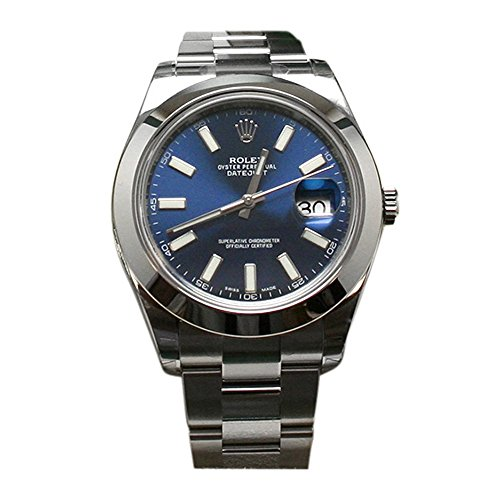 - Rolex Datejust II 41 Blue Dial Index Dial Steel Mens Watch 116300