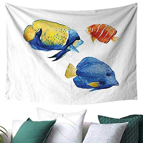 WilliamsDecor Fish Tapestry for Living Room Tropical Aquarium Life Discus Fish and Goldfish in Different Patterns a 84W x 54L Inch Azure Blue Yellow Scarlet