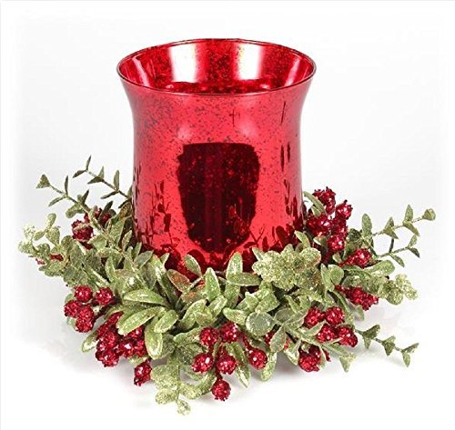 Kissing Krystals 8 Inch Mistletoe Floral Red Tea Light Glass Candle Holder Set