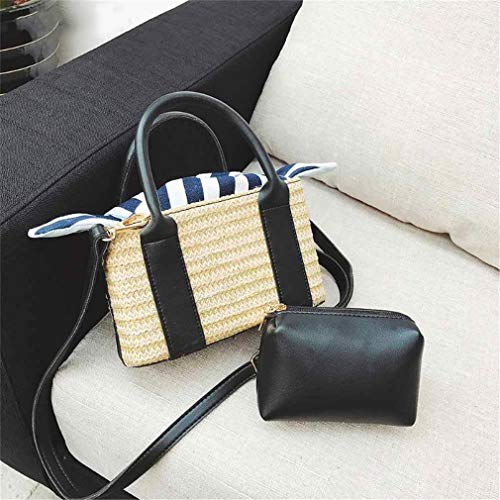 Set 2Pcs Purse 01 Women 02 Straw Clutch PSqndwSf