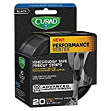 Curad CUR5060 Performance Series Kinesiology Tape, Black, 2'' x 10'', Roll of 20 Precut Strips (Pack of 12)