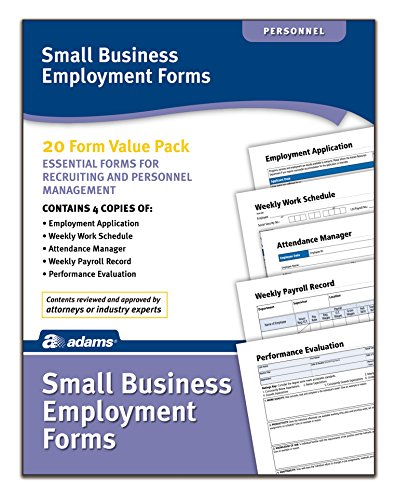 Employment Application Form - Adams Small Business Employment Forms, 4 Each of 5 Different Forms, Includes Instructions (HV100)