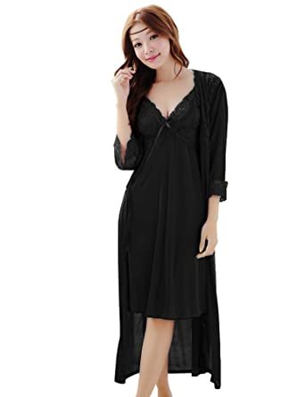 e1b4082c99a BININBOX Women s Sexy Robe Night Gown Two-Piece Suit Babydoll Sleepwear  (Black)