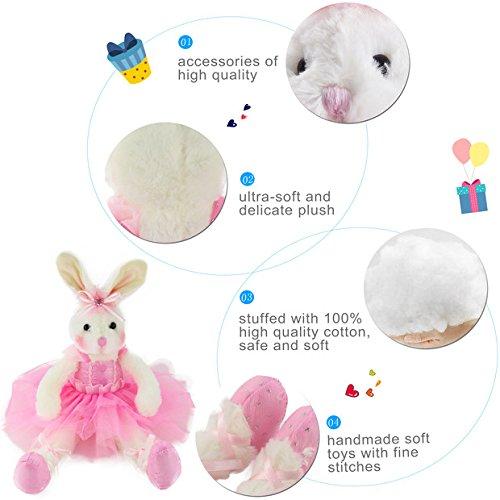 15-Inch Pink Girls Gift WEWILL Ballerina Bunny Stuffed Animal Adorable Soft Plush Toys Rabbit Doll