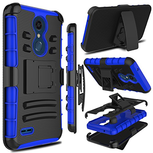 LG K30 Case, LG K10 2018 Case, LG Premier Pro LTE Case, Zenic Heavy Duty Shockproof Full-Body Protective Hybrid Case with Swivel Belt Clip and Kickstand for LG Harmony 2/LG Phoenix Plus(Blue)