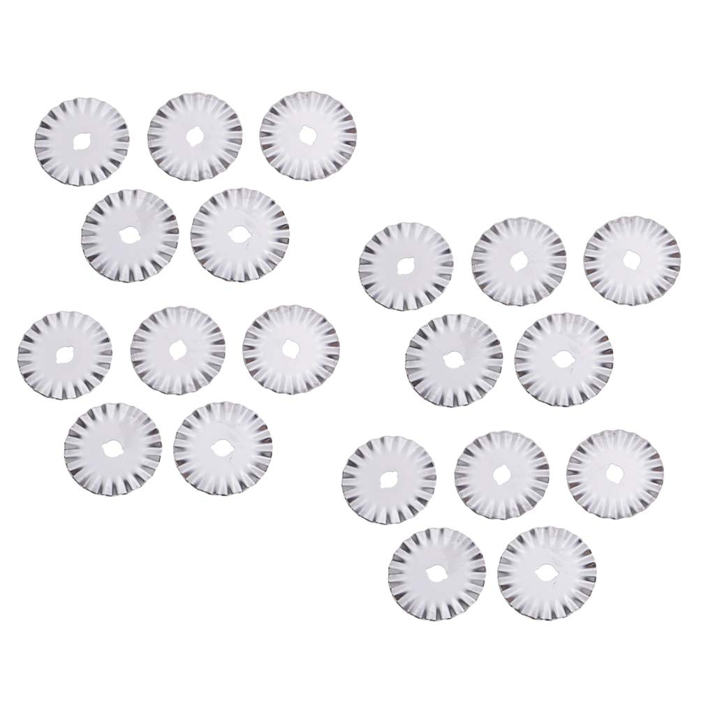 20 Pieces Decorative Rotary Replacement Pinking Blade 45 Wave Blades Refill Sewing Fabric Leather Photo Paper Roller Craft Steel Quilting Blades by Unknown