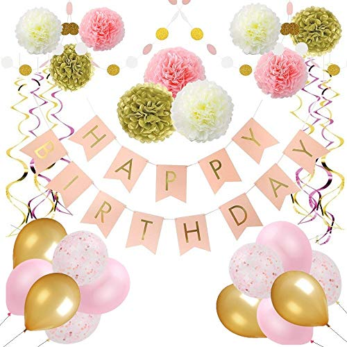 Happy 90th Birthday Balloons (Pink and Gold Birthday Party Decorations for Women by Balloobox - Kit of 32pcs with Pink Happy Birthday Banner, Pom Poms, Confetti Balloons, Glitter Polka Dot Garland, and Hanging Foil)