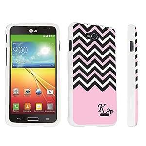 DuroCase ? LG Optimus L90 Hard Case White - (Black Pink White Chevron K)