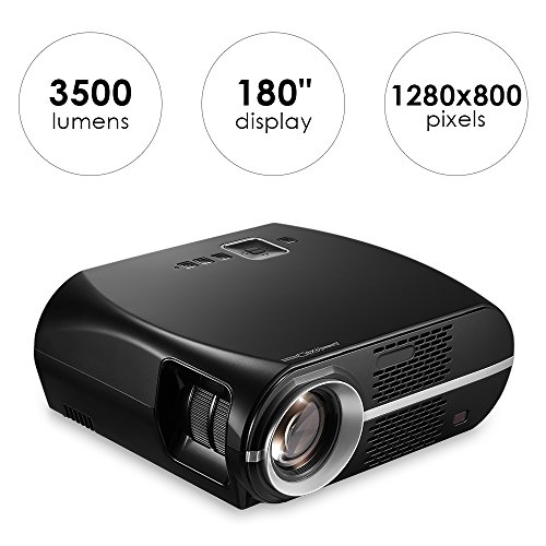GP100 Video Projector 3500 Lumens, Mesuvida LED Projector LCD 1080P Full-HD Multimedia Home Theater Projector Support HDMI USB VGA AV Audio Out for Home Movie Video Games Backyard Cinema by Mesuvida