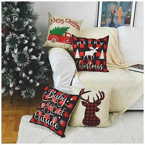 Christmas Home Decor PSDWETS Merry Christmas and Christmas Tree Decorations Cotton Linen Winter Deer Pillow Covers Set of 4 Christmas Decor… farmhouse christmas pillow covers