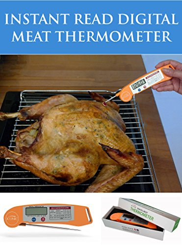 Access Iconic Instant Read Digital Meat Thermometer with Fold-Away Probe and Precision LED Temperature Gauge; Orange, Impact Resistant Thermoplastic Shell. offer