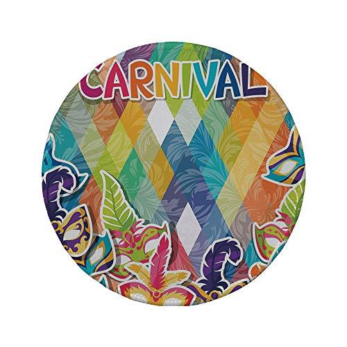 Non-Slip Rubber Round Mouse Pad,Mardi Gras,Vibrant Joyful Celebration Composition Abstract Pattern Feathers Carnival Masks,Multicolor,11.8