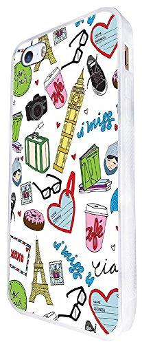 1190 - Girly Trend Cafe Paris Travel Big Ben Eiffel Tower Sunglasses Design iphone SE - 2016 Coque Fashion Trend Case Coque Protection Cover plastique et métal - Blanc
