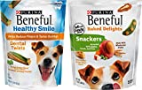 Purina Beneful Healthy Smile Dental Twists (1 Pack), Beneful Baked Delights Snackers Dog Treats (1 Pack). Variety Pack of 2 For Sale