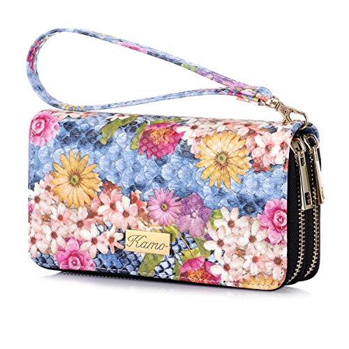 KAMO Womens Wallet Zip Around Phone Wallet Wristlet Travel Long Purse for Women Lady Girl 6.9×3.5(Double Zipper)