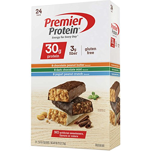 Premier Protein Bar Variety Pack – Chocolate Peanut Butter, Yogurt Peanut Crunch, Dark Chocolate Mint – 2.53-oz Each (Pack of 24)