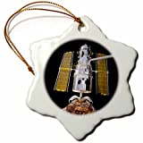 3dRose orn_76856_1 Solar System Hubble Redeployment Snowflake Porcelain Ornament, 3-Inch