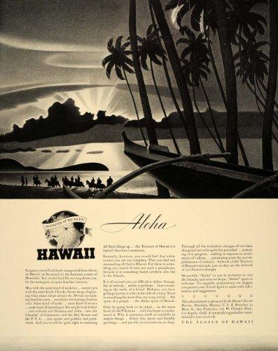 1940 Ad Hawaii Sunset Travel Aloha Outrigger Canoe NICE - Original Print Ad