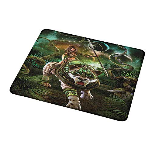 (Art Mousepad Fantasy World,Graphics of Fantasy Scene with Girl and Saber-Tooth Tiger Magical Plants Galaxy,Green,Standard Size Rectangle Non-Slip Rubber Mousepad 9.8