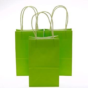 Amazon.com: Pequeño verde lima Kraft bolsas de regalo ...