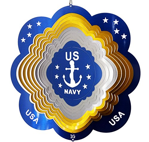 US Navy Wind Spinner, Metal Yard Art and Outdoor Décor, 12 Inch