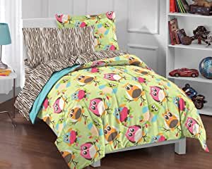 Bright Multicolored Cartoon Hoot Owls Comforter Set