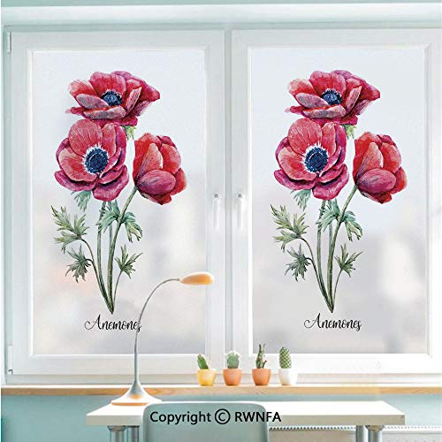 Navy Blue Film - Removable Static Decorative Privacy Window Films Watercolor Painting Style Bouquet of Anemone Vintage Garden for Glass (22.8In. by 35.4In),Sage Green Red Navy Blue