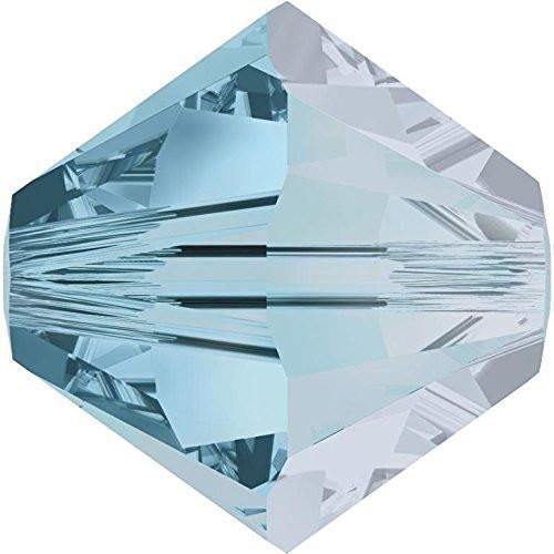5328 Swarovski Crystal Bicone Beads Aquamarine Satin | 4mm - Pack of 1440 (Wholesale) | Small & Wholesale Packs Aquamarine Satin Swarovski Crystals