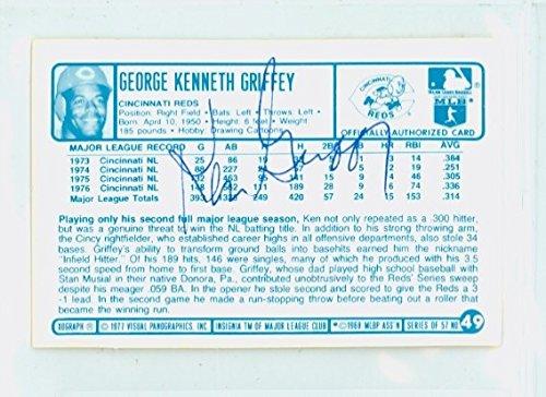 Ken Griffey AUTOGRAPH 1970s Kelloggs Back Signed 1977 Cincinnati Reds Cincinnati Reds Autographed Baseball