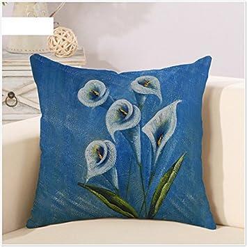 Mayuan520 Coussins Fleur Bleu Couleur Froide Tulip Peinture Art